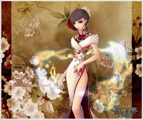 《完美玩家》国际展示原创手绘美女樱桃花图片