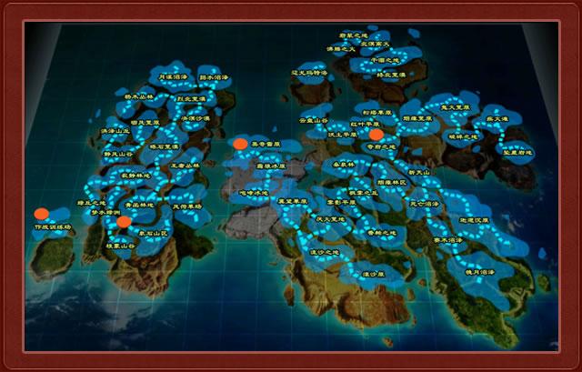 世界地图由4块大陆版块及周边海洋组成.